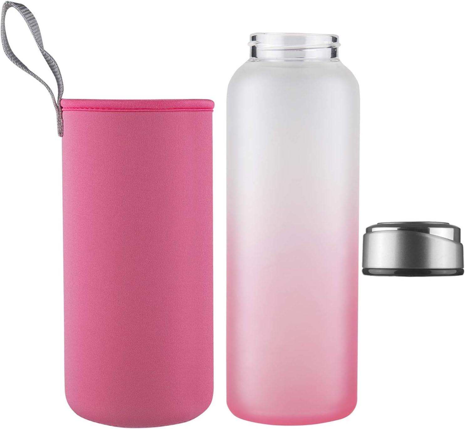 1 Liter DEARRAY Sport Glas Trinkflasche 1000ml Borosilikatglas Wasserflasche mit Neoprenh/ülle und Stilvollem Edelstahldeckel