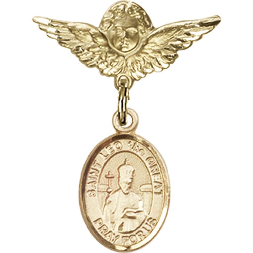14kt Yellow Gold Baby Badge with St. Leo the Great Charm and Angel w/Wings Badge Pin 1 X 3/4 inches by Bonyak Jewelry Saint Medal Collection