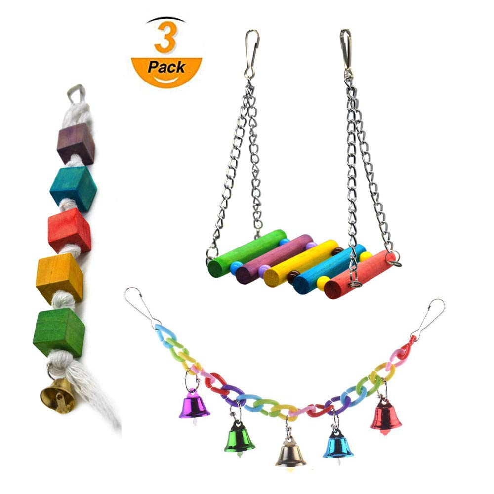 pikalla Pet Bird Cage Hammock Swing Hanging Toy Parrot Climbing Swing Toy Parrot Chewing Toys (3 Pack) dhalh