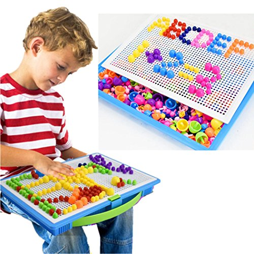 Hometom Puzzles, Jigsaw Puzzles Pegboard Building Blocks Game Kindergarten DIY Creative Educational Toys (Color (Board Game Costumes Diy)