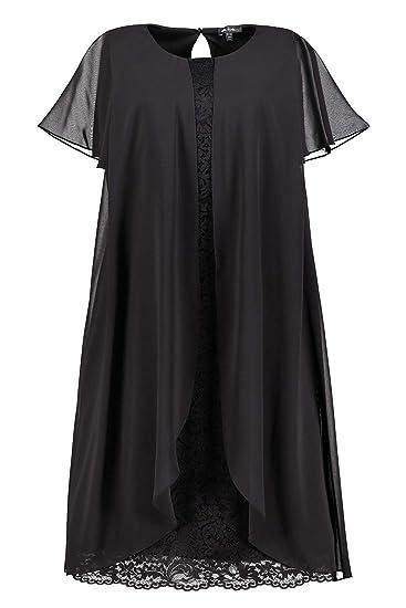 Ulla Popken Womens Plus Size Lace Chiffon Layered Dress Black 20