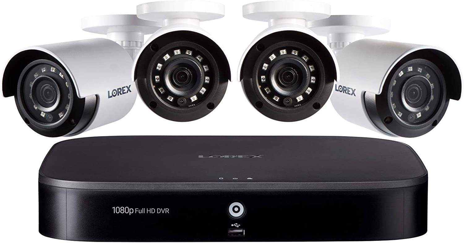 Lorex 1080p Weatherproof Indoor/Outdoor Wired Home Surveillance Security System, 4 Super HD Bullet Cameras w/Long Range Color Night Vision (4 Pack) - Smart Home Compatible w/ 1 TB Storage Hard Drive
