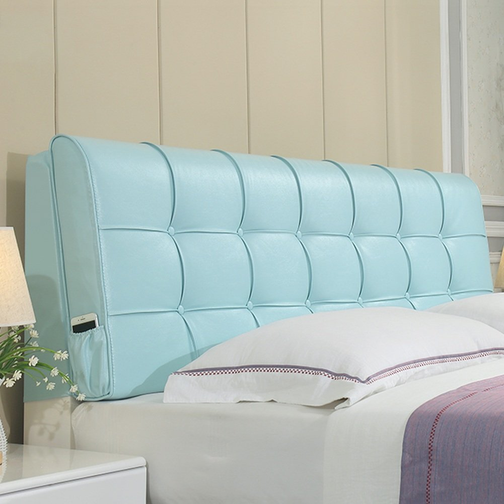 bluee-With headboard 120CM RFJJAL Headboard Bedside Cushion Pads Large Back Multifunction Pillow No Deformation Washable, 4 colors, 8 Sizes Optional (color   Brown-with headboard, Size   185CM)