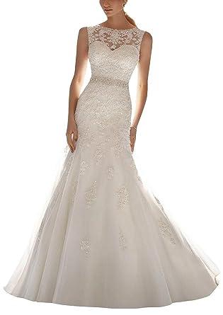 4f2954923268 Angel Formal Dresses Women's Beading Applique V Back Tulle Bridal Dresses  Ball at Amazon Women's Clothing store: