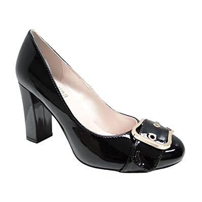 Angelina Women's Patent Round Toe Buckle Chunky Heeled Pump