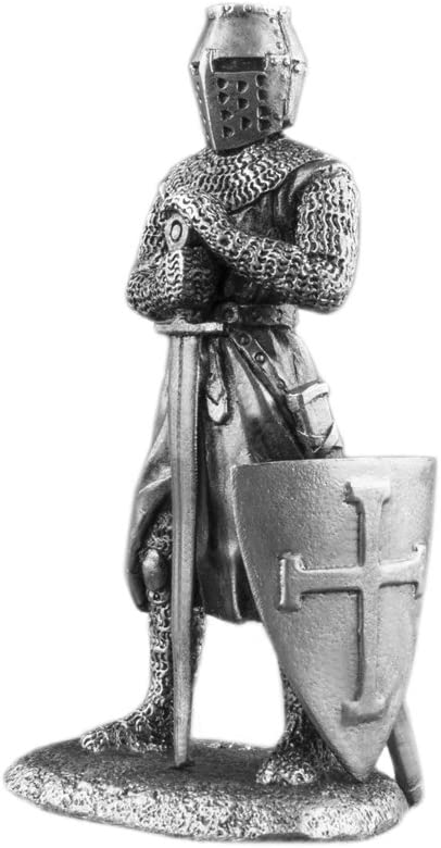 Ronin Miniatures Medieval Knight with Sword Sculpture UnPainted Tin Metal 54mm Action Figures Toy Soldiers Size 1/32 Scale for Home Décor Accents Collectible Figurines Item #Kn-06