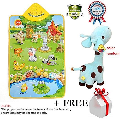 Kids Piano Musical Touch Play Crawl Mat Baby Fun Animal Game Child Plush Play Toy Soft Giraffe Animal Dolls Toy Birthday Party Xmas ()