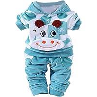 QinMM Baby Kleider 0-24 Monat, Neugeborene Baby Mädchen Jungen Cartoon Kuh Arm Outfits SAMT Kapuzenoberteile Set