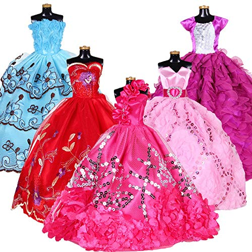 Doll Clothes Set for Barbie Dolls Handmade Doll Dress Fashion Casual Toy Clothes Doll Party Gown Outfits Barbie Doll Lace Dress Shoes Doll Birthday Xmas Fairytale Dress Up Doll ()