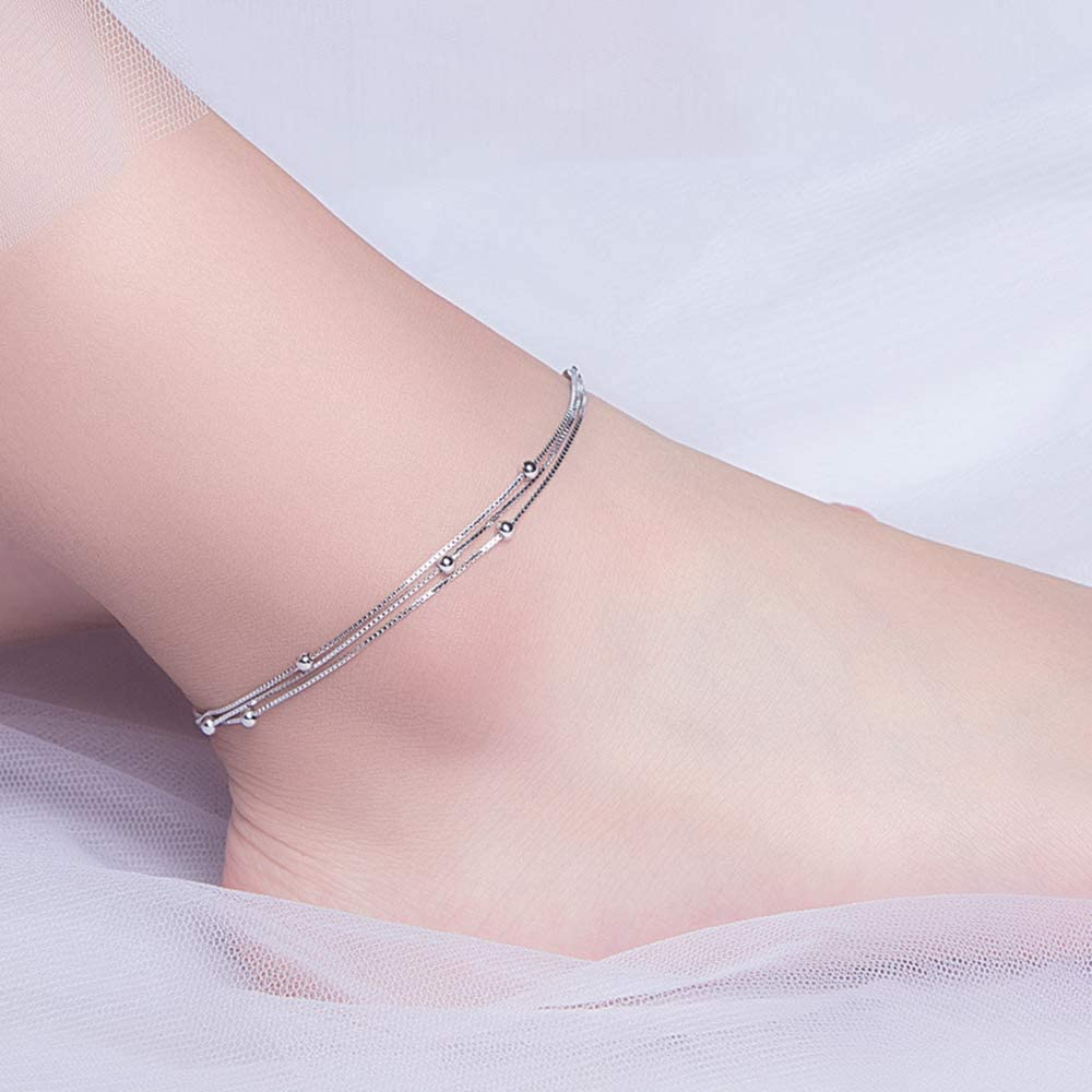 Minimalist Satellite Chain Anklet 925 Sterling Silver Triple Layered Chain Ball Beads Beach Foot Ankle Bracelet for Women Girls