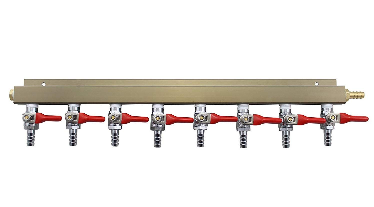 """The Weekend Brewer 8-way 5/16"""" Barb CO2 Distributor Manifold with integrated check valves"""