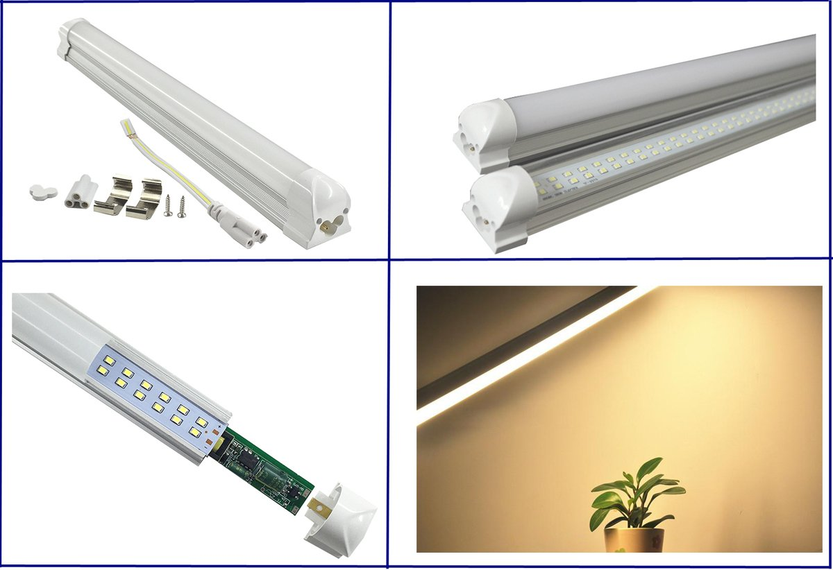 Pack of 2 LUMINTURS LED Tube Holder Integrated Ceiling Light Bar Hard Strip Fixture Warm White(3000K) SMD 5730 4FT 50W