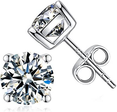 Solid 925 Sterling Silver 4mm Square CZ Cubic Zirconia 4 Prong Stud Earrings