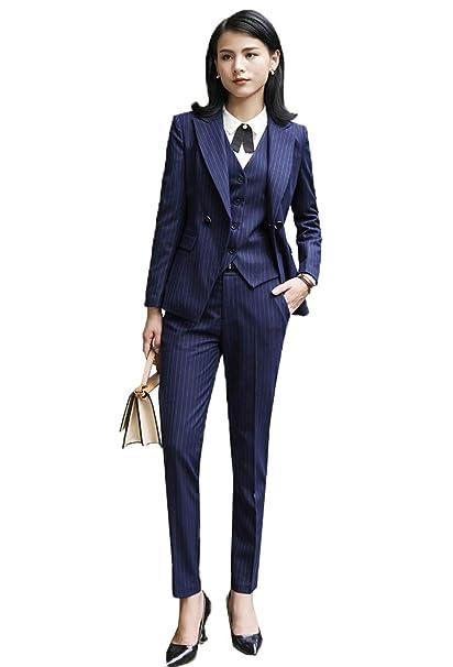 e8320c7db1034 YSMO Women's Slim Stripe Suits 3-Piece Blazer Pants & Vest Jacket ...