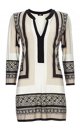 c6fa705ee9e Wallis Long Tunic Top Aztec Design Beige Taupe Black XS S M RRP £35:  Amazon.co.uk: Clothing