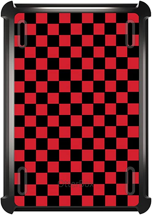 DistinctInk Case for iPad Air 2 (2014 Model) - Replacement for OtterBox Defender Custom Black Case with Stand - Red Black Checkered Flag Geometric - Geometric Checkered Pattern
