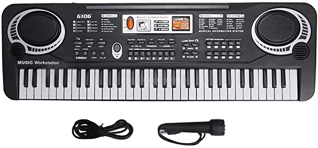 Electric Keyboard Piano 61-Key, Piano Keyboard 61 Key Electric Digital Music Keyboard Portable Electronic Musical Instrument Multi-Function Keyboard with Microphone for Beginners