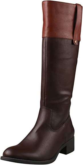 f1318b11016 ALTO-03 Women's Low Heel Side Zip Knee High Simple Comfort Riding Boot