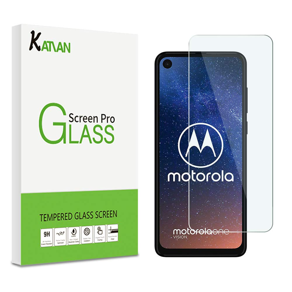 [2 Pack] Motorola One Vision Screen Protector, KATIAN HD Clear Protector [Anti-Scratch] [Anti-Fingerprint] [No-Bubble], 9H Hardness Tempered Glass Film Motorola One Vision