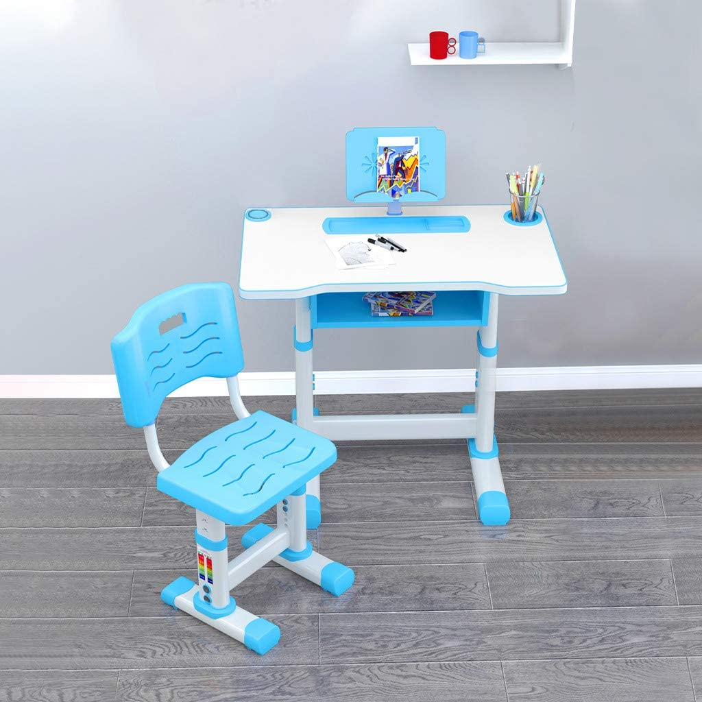 Kids Desk and Chair Set Blue Childs Home Student Sturdy Table Adjustable Desktop Height Children Study Table with Tabletop Drawer Storage and Reading Rack(27.5x18.1x23.6-27.5 in)