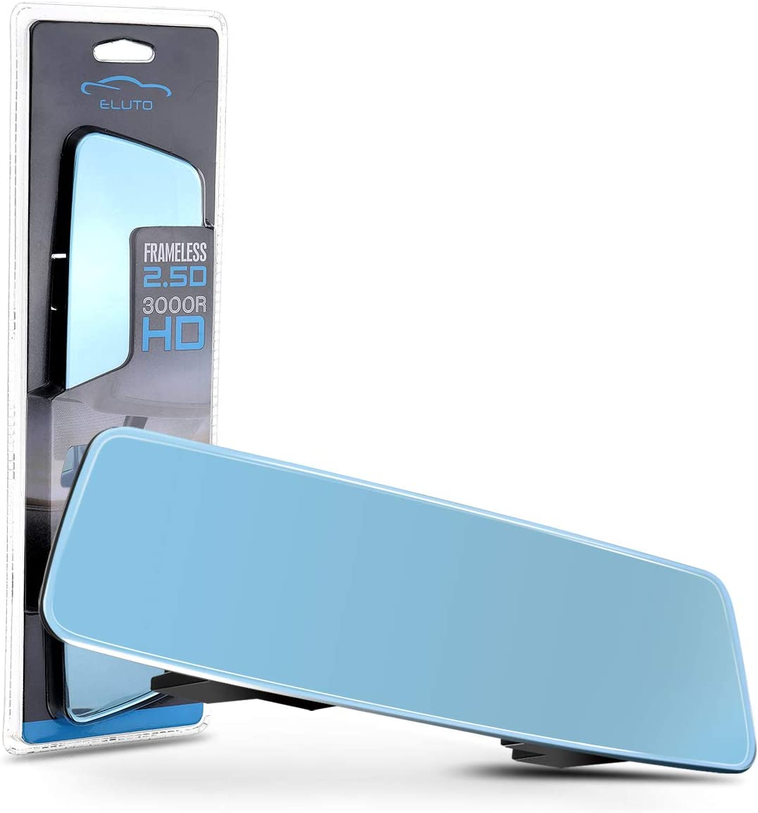 "ELUTO Rear View Mirror Wide Angle Anti Glare Rearview Mirror Rimless Panoramic Curve Convex HD Blue Tints Rear View Mirror Clip On Original Mirror for Car SUV Van Truck 11""(280 mm)"