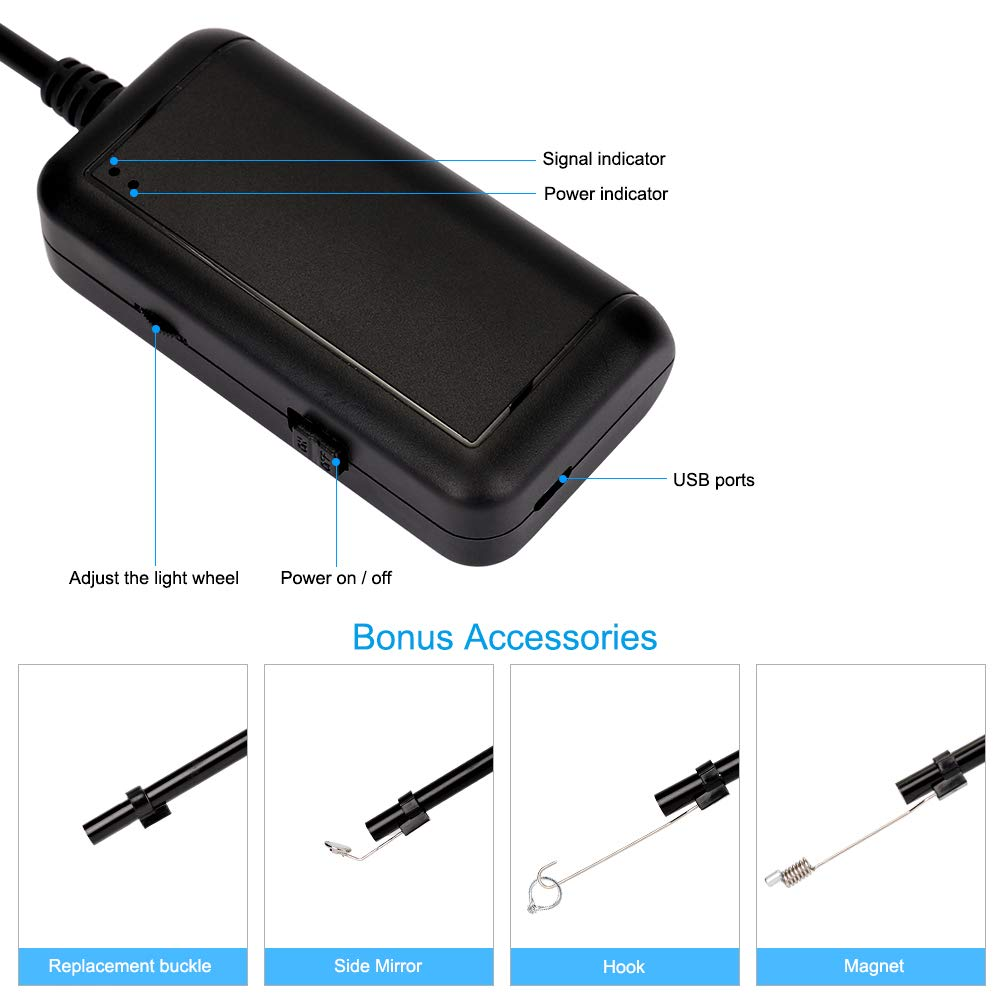 FREESOO WiFi Endoscopio 5M Inal/ámbrico C/ámara de Inspecci/ón 5.0MP HD Impermeable IP67 Boroscopio 5.5MM Distancia Focal con 6 LED Ajustable Bater/ía 1800mAh para iOS iPhone Samsung Smartphone Android