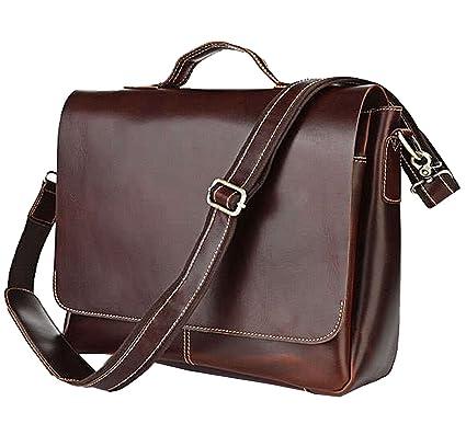 5997ac3925a Berchirly Retro Genuine Leather Messenger Men Shoulder Bag Totes Fits  15inch Laptop Mac