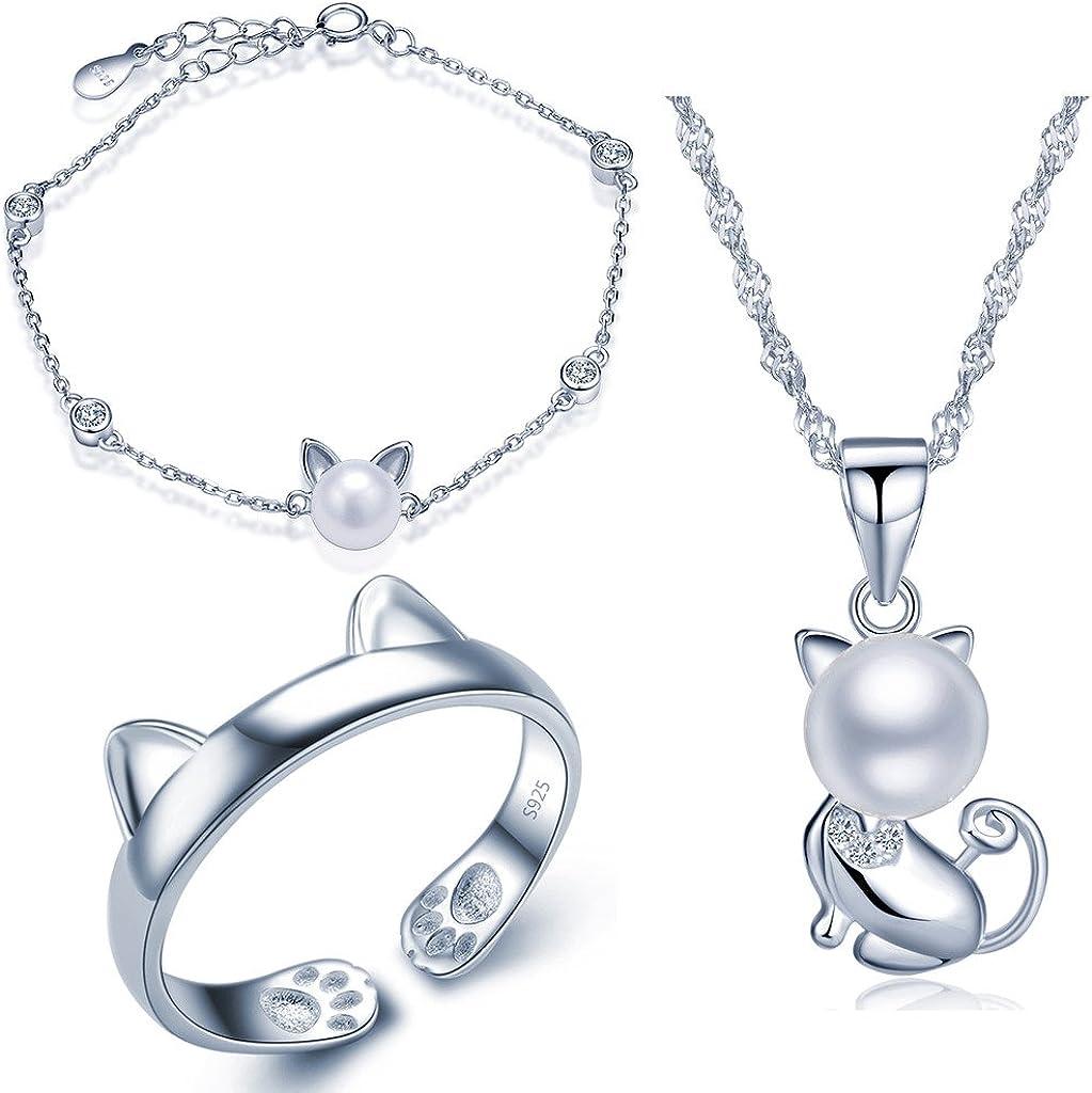 Juegos de Joyas Set de joyas Yumilok de plata de ley 925, con cadena con colgante de gato, perla de 8mm y circonitas, pulsera de cadena con adorno y anillo, para mujeres y Chicas