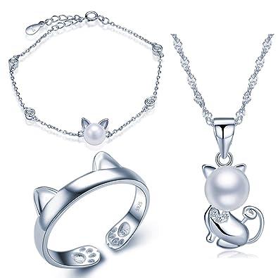Yumilok 925 Sterling Silber Zirkonia 8mm Perle Katze Kätzchen Halskette  Charm-Armband Bandring Schmuck Set Kette mit Anhänger Armkette Ring Set für  Damen ... 592e8a3e2f