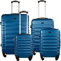 Set Maleta Viaje Rigidas Resistente Kit Colores Modelos Varios (Rayas Horizontales, Azul)