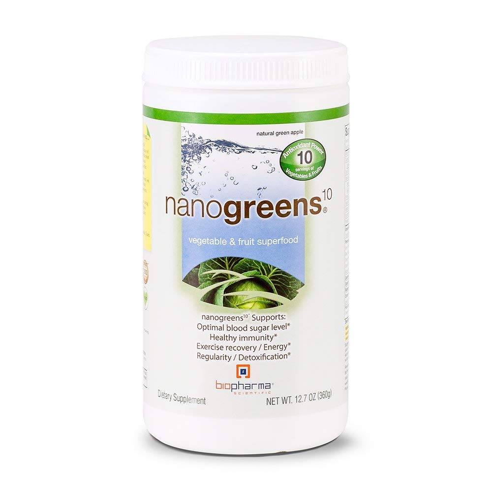 Biopharma Scientific NanoGreens Fruit and Vegetable Superfood Powder Natural Green Apple Flavor 30 Servings Spirulina, Chlorella, Organic Kale, Organic Spinach, Plant Based Enzymes.
