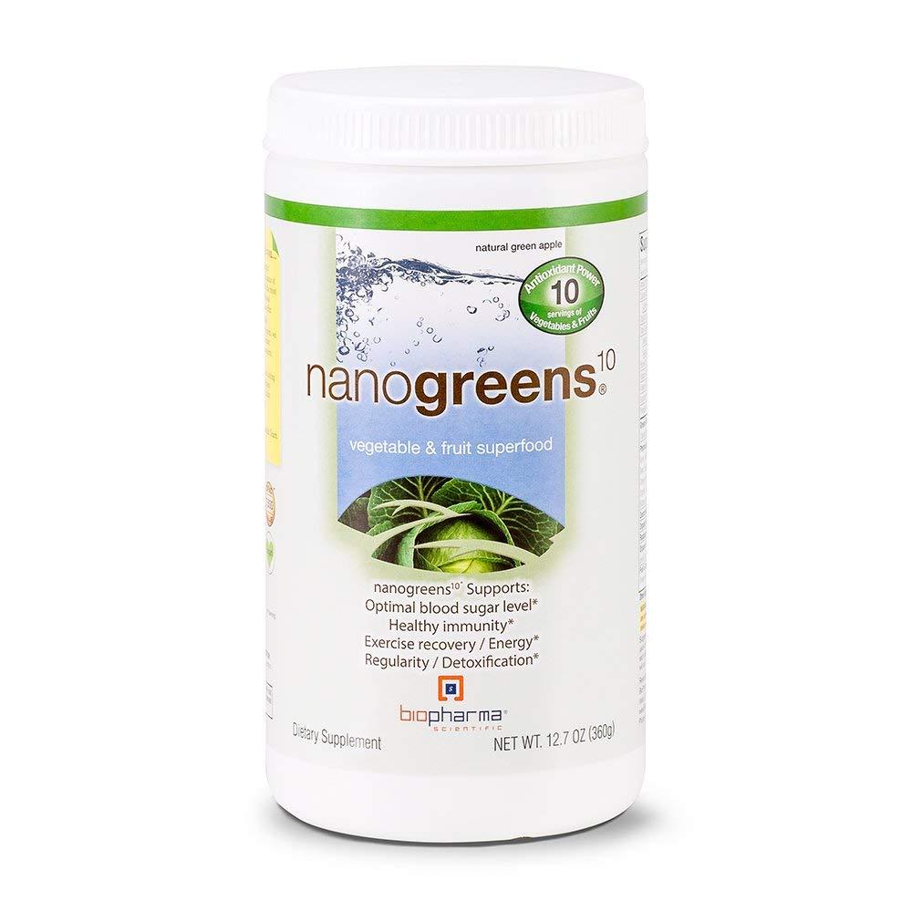Biopharma Scientific NanoGreens Fruit and Vegetable Superfood Powder | Natural Green Apple Flavor | 30 Servings | Spirulina, Chlorella, Organic Kale, Organic Spinach, Plant Based Enzymes.