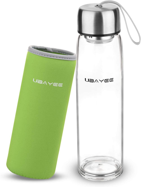 UBAYEE Botella de Agua Cristal, 550ml Sin BPA Botella de Vidrio ...
