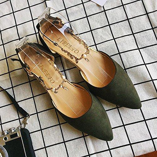 RUGAI-UE Los tacones altos mujeres hebilla áspero verano zapatos de punta Army Green