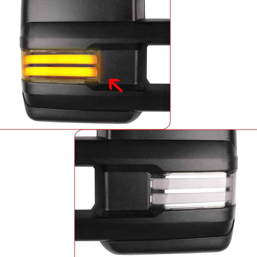 SCITOO Tow Mirrors Compatible with 2014 2500 HD 3500 HD 2007 Pickup Tahoe Suburban Avalanche Yukon XL 2008-2013 Denali Towing Mirrors with Power Heated with Running Light Turn Signal Light 7154N555ddLSL1000_