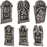 "Loftus International Loftus Graveyard Halloween Decor 6Pc 19"" & 12"" Tall Tombstones, Black Grey Novelty Item"