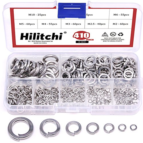 Hilitchi 410-Pcs [8-Size] 304 Stainless Steel Spring Lock Washer Assortment Set - Size Included: M2 M2.5 M3 M4 M5 M6 M8 M10