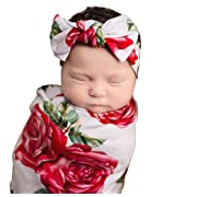 Newborn Baby Receiving Blanket Headband Set Flower Print Baby Swaddle Receiving Blankets Gift for Baby Shower (80x80cm, RED)