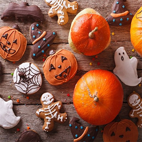 CSFOTO 8x8ft Halloween Background Halloween Gingerbread Pumpkin Closeup Funny Cookies Party Photography Backdrop Dessert Horror Creepy Cake Ghost Sweet Holiday Decor Photo Studio Props Wallpaper