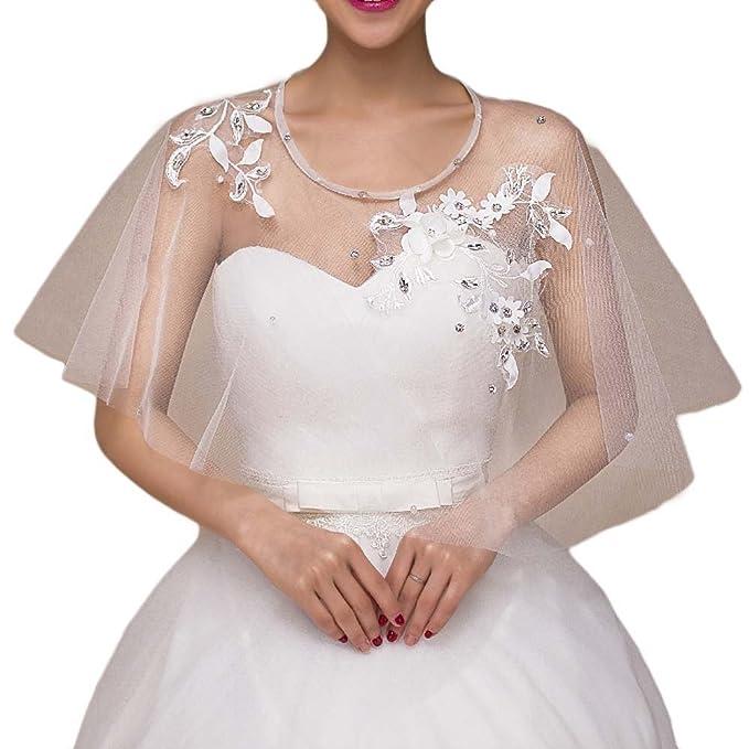 Favors Dress Womens Cape Wedding Bolero Jackets Shawl for Bride White