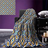 smallbeefly Ethnic Lightweight Blanket Moroccan Oriental Traditional Culture Motif Vintage Style Ottoman Royal Arabian Digital Printing Blanket 60''x36'' Multicolor