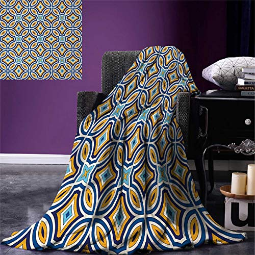 smallbeefly Ethnic Lightweight Blanket Moroccan Oriental Traditional Culture Motif Vintage Style Ottoman Royal Arabian Digital Printing Blanket 60''x36'' Multicolor by smallbeefly