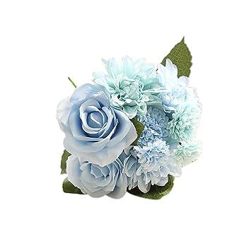 Amazon De 1 Strauss 8 Stuck Kunstliche Rosen Dahlien Ganseblumchen