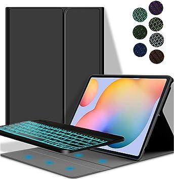YGoal Teclado Funda para Huawei Matepad 10.4, [Teclado Español Ñ] 7 Colors Backlit PU Cuero Funda con Desmontable Wireless Teclado para Huawei Matepad ...