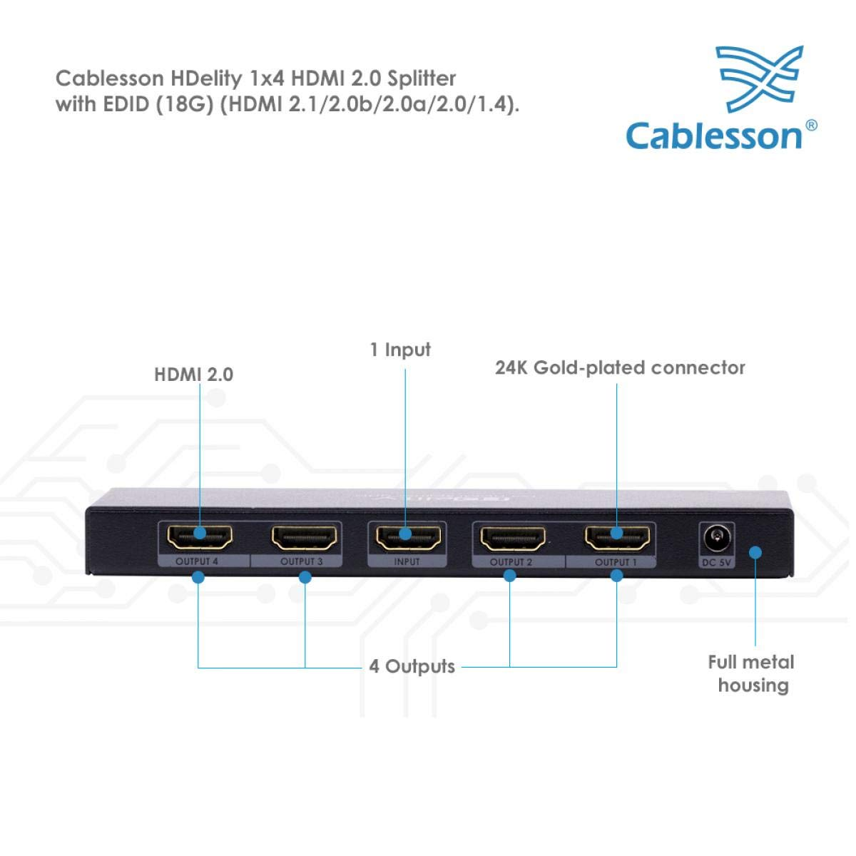 amazon com cablesson hdelity 1 x 4 hdmi 2 0 splitter 1 input 4 rh amazon com
