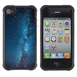 LASTONE PHONE CASE / Suave Silicona Caso Carcasa de Caucho Funda para Apple Iphone 4 / 4S / Milky Way Galaxy Stars Sky Blue
