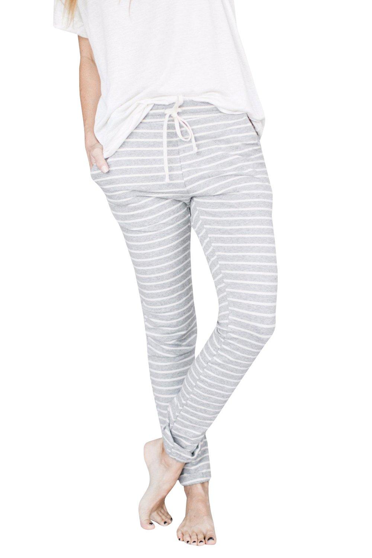 Ermonn Women Juniors Casual Stripe Tie Waist Jogger Leggings Harem Pants