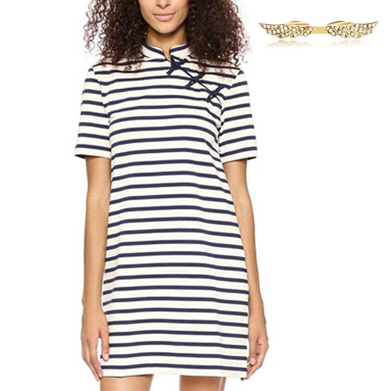Angelwing Damen Sommer Kleider T-shirt Tops Elegant Kurzarm Streifen Slim Cheongsam Blusen Oberteil Tunika