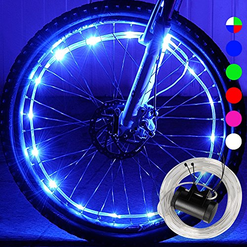 DAWAY A01+ Bike Wheel Light - Waterproof LED Bicycle Tire Light, Cool Safety Bike Spoke Accessories, Light up Wheels, Bright, 2 Modes, with Battery, Xmas Gift for Kids Boys Girls Teens Adults, Blue