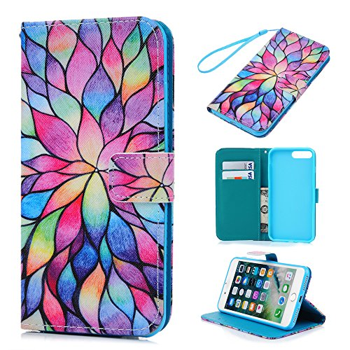Price comparison product image iPhone 8 plus Case, iPhone 7 plus Case - Wallet Slim Folio Style Stand Digital Print PU Leather Flip Case with High Protective Shock-Absorption TPU Inner Cover Card Slots by Badalink - Colorful Flower